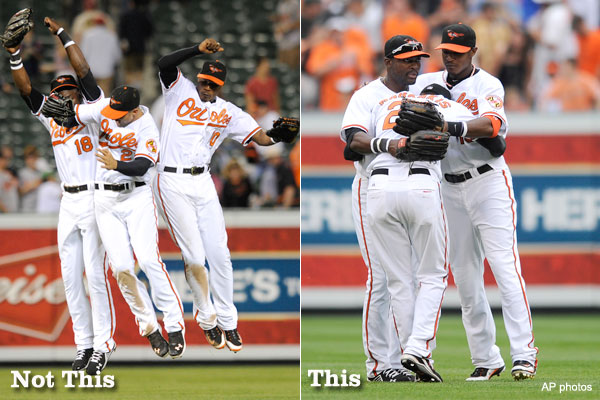 Hugs, not hip bumps: O's outfield opts for safer celebration