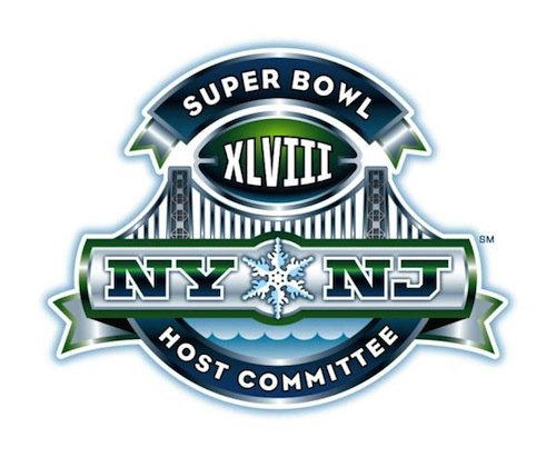 2014 Super Bowl logo features a snowflake, GW Bridge