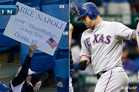 Mike Napoli's grandfather made an awesome sign for his grandson