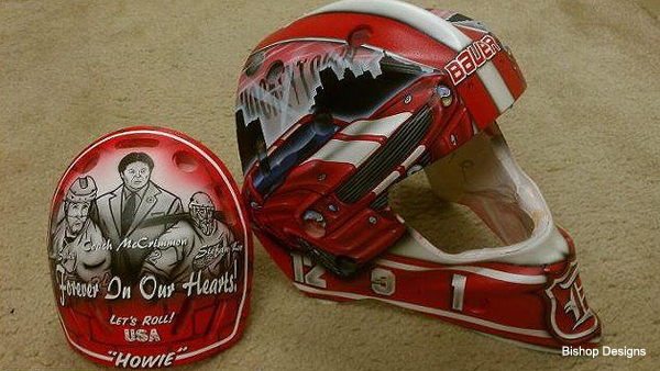 Back of Jimmy Howard's mask to honor fallen Lokomotiv friends