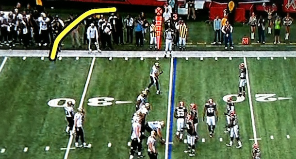Sean Payton illegally coaches outside the box