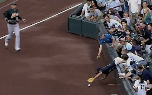 Imposter Ichiro goes overboard pursuing Ackley's ball