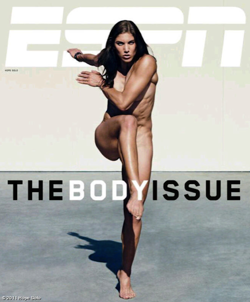 Hope Solo naked and watering the lawn in ESPN The Nudie Magazine