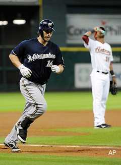 Brewers backup catcher George Kottaras hits first cycle of '11