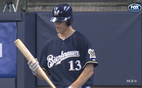'Bierbrauer'?! Greinke goes to bat wearing wrong Brewers jersey
