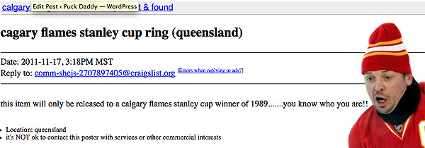 Theo Fleury discovers his lost Stanley Cup ring on Craigslist