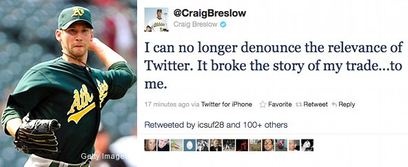 A's pitcher Craig Breslow finds out about own trade on Twitter