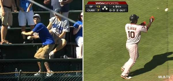 Cubs fan&#8217;s incredible throw returns Tejada homer to Giants dugout