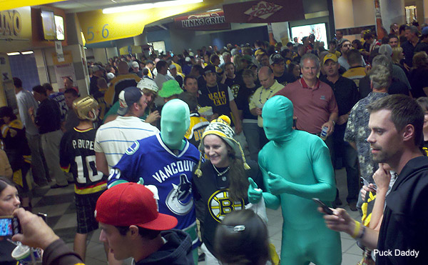 Bruins Fans Really Can't Stand Sitting Near The Green Men