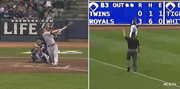 Tulo's foul ball hits Miller Park support cable, sparks confusion
