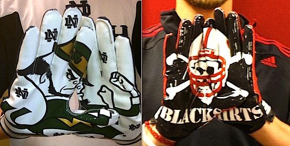 Notre Dame, Nebraska break tradition with bold glove designs