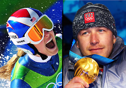 Lindsey Vonn (left) and Bode Miller.