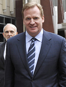 NFL commissioner Roger Goodell leaves the federal courthouse in Minneapolis last week.