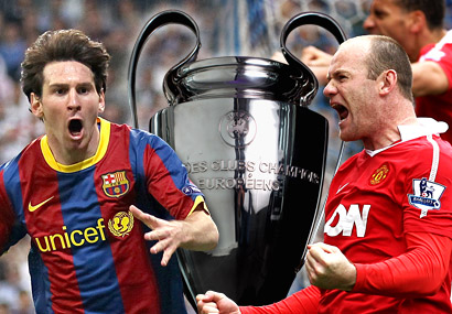 Barca's Lionel Messi (left) and United's Wayne Rooney