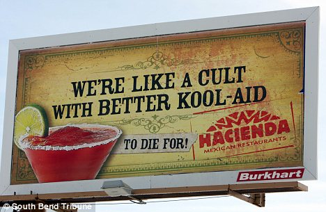 attract customers billboards joke infamous cult massacre 900 people died