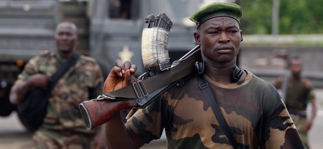 Soldiers loyal to democratically elected president Alassane Ouattara in Abidjan, Ivory Coast