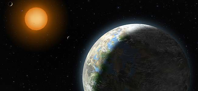 An artist rendering by Lynette Cook, National Science Foundation, shows the new planet on the right.
