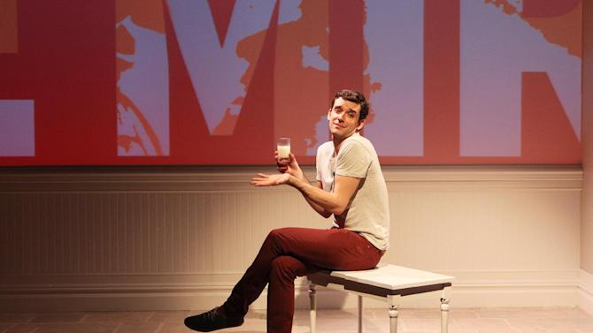 """This theater image released by Richard Kornberg & Associates shows Michael Urie during a performance of """"Buyer & Cellar,"""" in New York. (AP Photo/Richard Kornberg & Associates, Sandra Coudert)"""