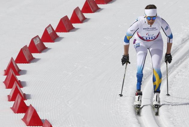 Sweden's Ripa skis on her way to the gold medal during the women's 15 km cross-country standing at the 2014 Sochi Paralympic Winter Games in Rosa Khutor
