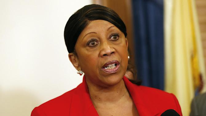New Jersey Assembly Speaker Sheila Oliver responds to New Jersey Gov. Chris Christie's 2014 state budget in Trenton, N.J., Tuesday, Feb. 26, 2013. Christie delivered his fourth budget proposal before a joint session of the Legislature at the State House during an election year as the state rebounds from the worst natural disaster in its history. (AP Photo/Rich Schultz)
