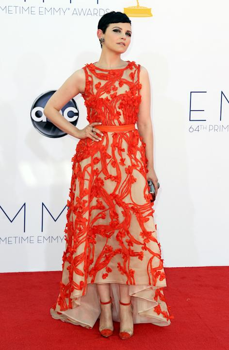 FILE - This Sept. 23, 2012 file photo shows actress Ginnifer Goodwin arriving at the 64th Primetime Emmy Awards at the Nokia Theatre in Los Angeles.  Sunday's Emmy Awards opened the first big fashion