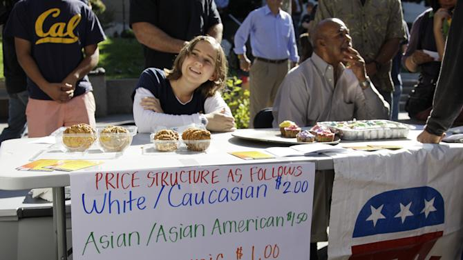 """A student who identified herself as 'Hannah"""" sells baked goods during a bake sale led by the Berkeley College Republicans Tuesday, Sept. 27, 2011, at the University of California campus in Berkeley, Calif. The Berkeley College Republicans have scheduled a bake sale where the price of a cookie or a brownie depends on your gender and the color of your skin. The price of a baked good costs $2 for white people, $1.50 if you're Asian, $1 for Latinos, 75 cents for African-Americans and 25 cents for Native Americans. Women get a discount of 25 cents. (AP Photo/Ben Margot)"""