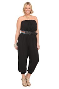 Black Challis Jumpsuit With Multicolor Stretch Belt