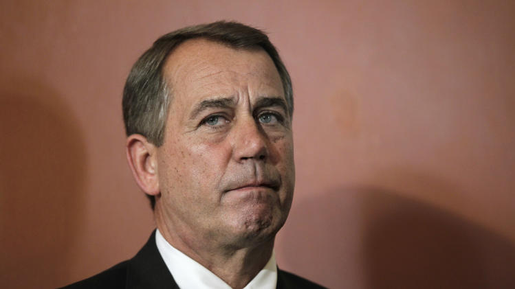House Speaker John Boehner  of Ohio, joined by other GOP leaders, criticizes President Obama and Congressional Democrats for failure to end the debt crisis, Monday, July 25, 2011, on Capitol Hill in Washington.  (AP Photo/J. Scott Applewhite)