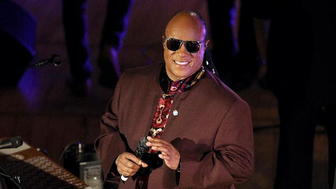 FILE - This Oct. 24, 2012 file photo shows musician Stevie Wonder performing at the United Nations Day Concert hosted by BET Networks and Wonder Productions at the United Nations. The concert will premiere simultaneously on BET, Centric, VH1 Soul, VH1 Classis and Palladia on Feb. 23.   (Photo by Donald Traill/Invision/AP, file)