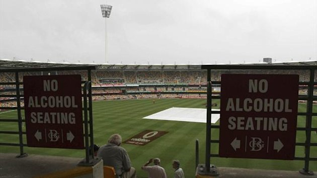 Rain prevents play at the Gabba in Brisbane (Reuters)