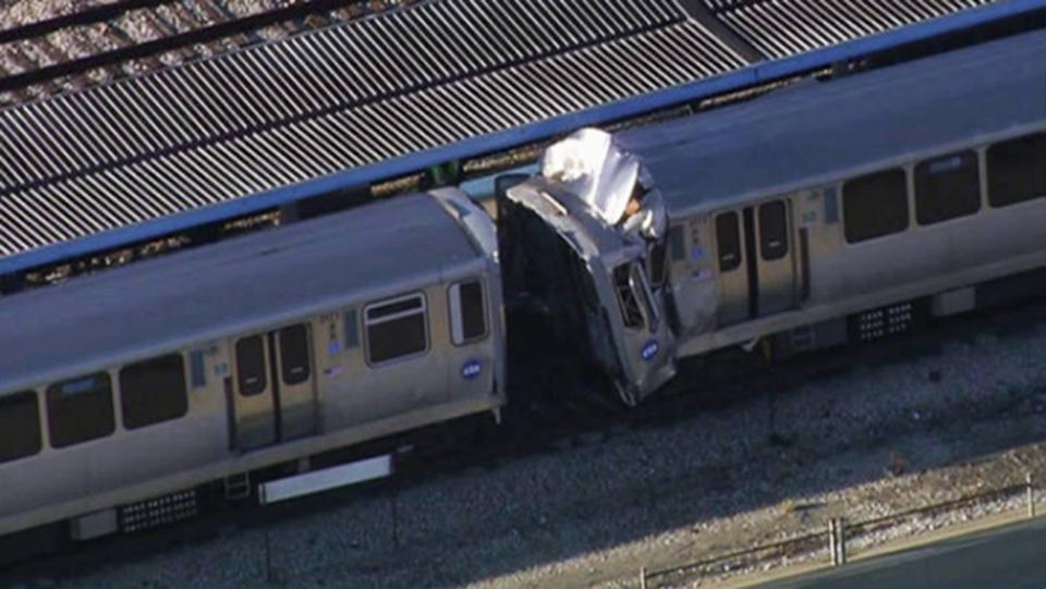 This image from video provided by NBC Chicago shows the aftermath of a crash involving two Chicago Transit Authority trains on the Blue Line during rush hour Monday, Sept. 30, 2013, in Forest Park, Ill. Several ambulances have been sent to the scene. (AP Photo/Courtesy of NBC Chicago)