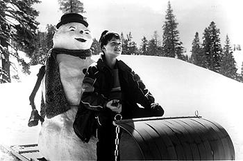 Joseph Cross with his father reincarnated as a snowman in Warner Brothers' Jack Frost