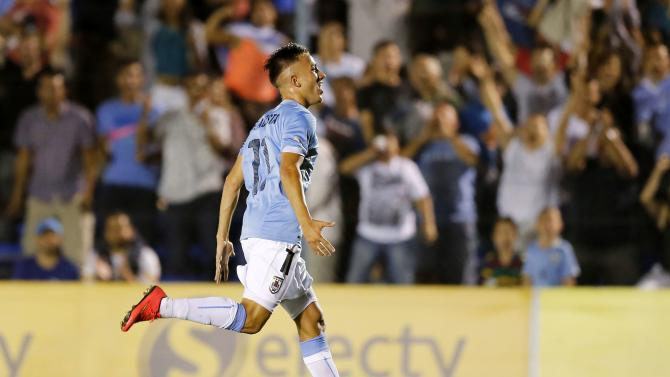 Uruguay's Franco Acosta celebrates goal against Paraguay during match for final round of the South American Under-20 Championship in Montevideo
