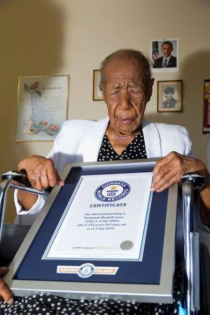 Susannah Mushatt Jones is pictured with a certificate from Guinness World Records proclaiming her the world's oldest woman in New York in this handout photo