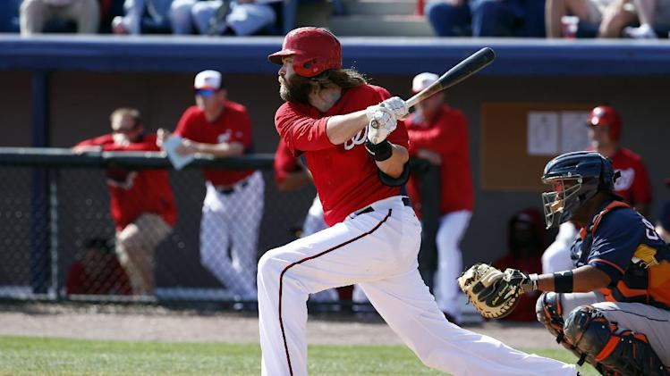 Washington Nationals right fielder Jayson Werth (28) bats in a spring exhibition baseball game against the Houston Astros, Friday, March 7, 2014, in Viera, Fla. The Nationals won 8-5. (AP Photo/Alex Brandon)