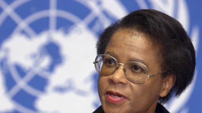 "FILE-  In this Wednesday June 28, 2000 file photo,  Mamphela Ramphele speaks during a press conference at the United Nations Headquarters in Geneva. Academic and co-founder of South Africa's Black Conscious Movement, Ramphele announced Monday Feb. 18. 2013, the creation of a new political party  called Agang in the Sesotho language meaning ""Build"", ""to build the South Africa of our dreams,"" when they will contest the 2014 elections. (AP Photo/Martial Trezzini)"