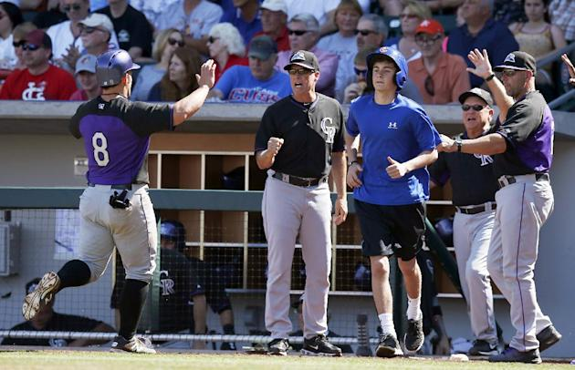 Colorado Rockies's Michael McKenry (8) is greeted by Rockies coaching staff after McKenry scores a run against the Chicago Cubs in the third inning during a spring training baseball game on Tuesda