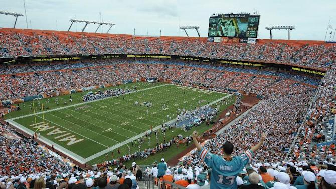 FILE - This Sept. 16, 2012 file photo shows a general view of Sun Life Stadium during the first half of an NFL football game between the Miami Dolphins and Oakland Raiders in Miami. NFL owners will vote on the sites of the 50th and 51st Super Bowls on Tuesday, May 21, 2013 at their spring meetings. The San Francisco area, where a new stadium is being built in Santa Clara, and South Florida are competing for the the 50th edition, to be held in February 2016. The loser in that bidding will go against Houston to host the 51st game the following year. (AP Photo/Rhona Wise, File)