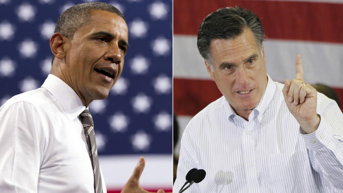 FILE - This combination of 2012 file photos shows U.S. President Barack Obama, left, and Republican presidential candidate Mitt Romney in Boulder, Colo. and Cape Canaveral, Fla. Campaign finance filings with the government now show that the cost of the 2012 U.S. presidential race has surpassed $2 billion, a new record. The new tallies released Thursday, Dec. 6, 2012, which include nearly $86 million in fundraising by Republican presidential nominee Mitt Romney in the election's final weeks, boosted the total campaign haul over the $2 billion mark. (AP Photo/Carolyn Kaster, Charles Dharapak)