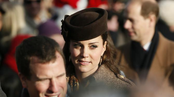 Britain's Catherine, Duchess of Cambridge arrives at St Mary Magdalene's church for the Royal Family's Christmas Day service on the Sandringham estate in eastern England