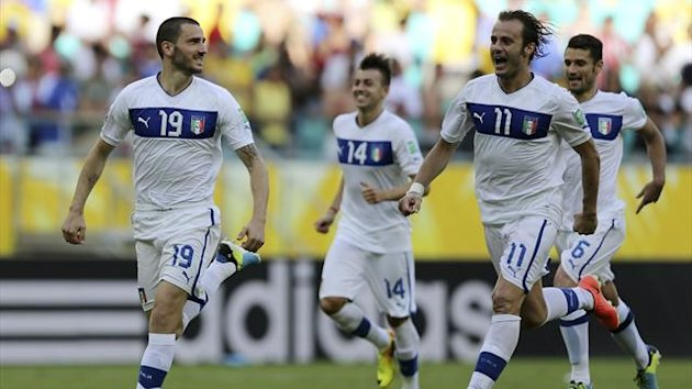taly's Leonardo Bonucci (L-R), Stephan El Shaarawy, Alberto Gilardino and Antonio Candreva celebrate after their team won in the penalty shootout of their Confederations Cup third-place playoff (Reuters)