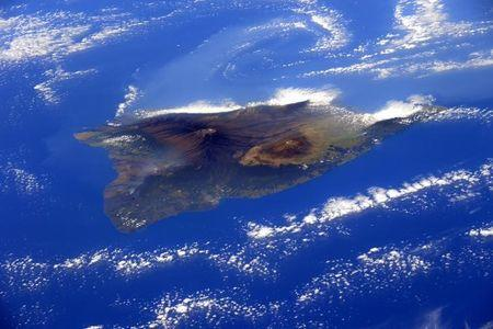 The big island of Hawaii is seen in this image from the International Space Station