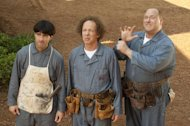 "In this image released by 20th Century Fox, from left, Chris Diamantopoulos, Sean Hayes and Will Sasso are shown in a scene from ""The Three Stooges."" (AP Photo/20th Century Fox, Peter Iovino)"