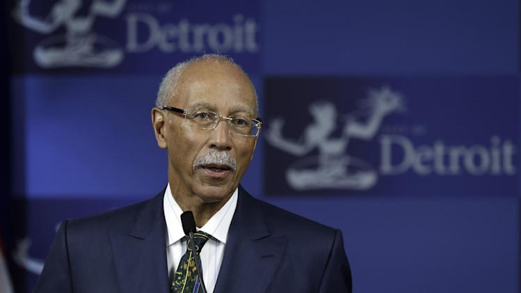 Detroit Mayor Dave Bing speaks during a news conference in Detroit, Monday, May 13, 2013. The first report by Detroit's emergency manager declares that the city is broke and at risk of running completely out of money — a financial meltdown that could mean employees don't receive paychecks, retirees lose their pensions and residents endure even deeper cuts in municipal services. (AP Photo/Paul Sancya)