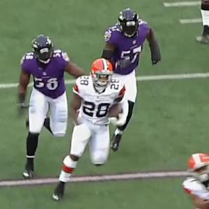 Cleveland Browns running back Terrance West carries for 36 yards