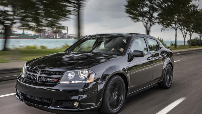 This undated image made available by Chrysler shows the 2013 Dodge Avenger Blacktop Edition. (AP Photo/Chrysler)