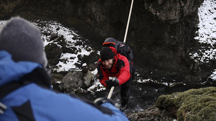 "Jake Gyllenhaal in Iceland as seen on ""Man vs. Wild."""