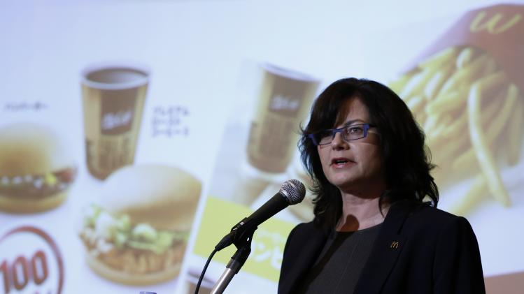 McDonald's Holdings Co (Japan) President and CEO Sarah Casanova speaks during a news conference in Tokyo