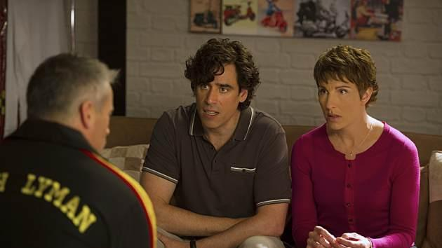 Matt LeBlanc as himself, Stephen Mangan as Sean Lincoln and Tamsin Greig as Beverly Lincoln in 'Episodes' Season 3 -- Showtime