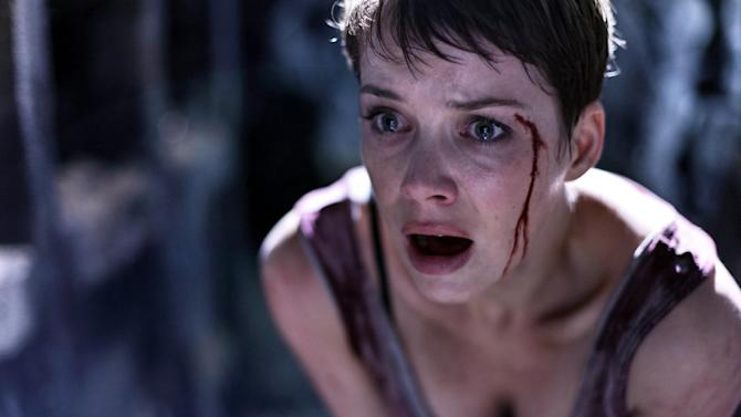 "This film publicity image released by Radius-TWC shows Andrea Osvart in a scene from ""Aftershock."" (AP Photo/Radius-TWC)"